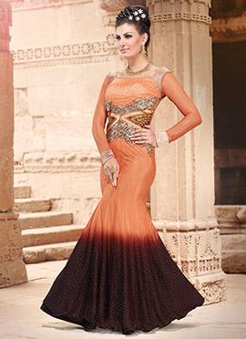 Orange N Dark Wine Ombre Net N Taffeta Gown
