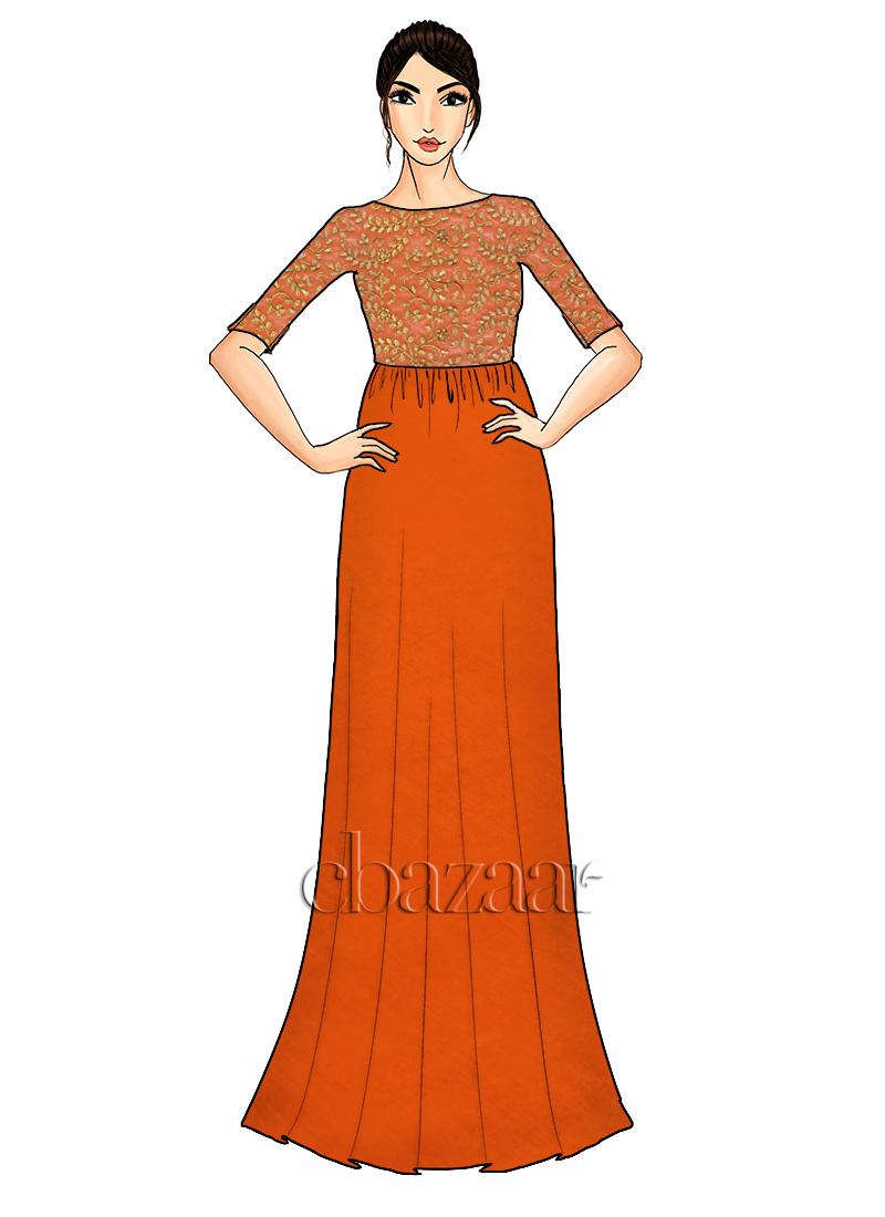 Orange N Gold Embroidered Gown