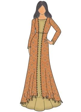 Orange N Gold Net Embroidered Gown
