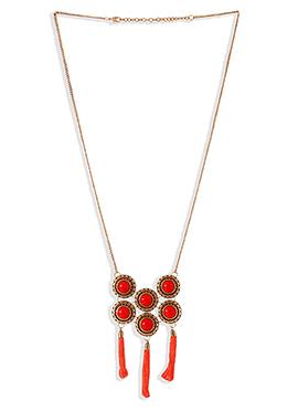 Orange N Golden Chain Necklace