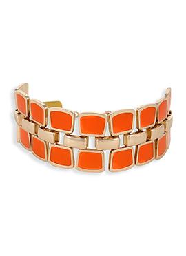 Orange N Golden Color Bangles