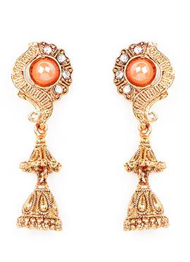 Orange N Golden Jhumka Earring