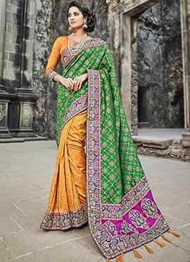 Orange N Green Art Benarasi Silk Saree