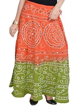 Orange N Green Cotton Bandhini Printed Skirt