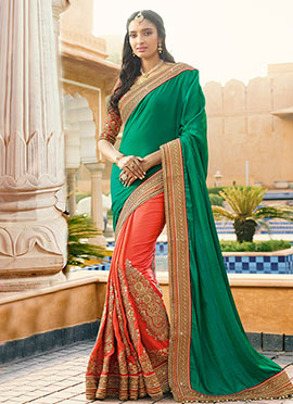 Orange N Green Half N Half Saree