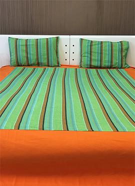 Orange N Green Pure Cotton Bed Sheet