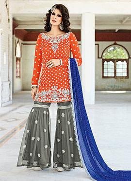 Orange N Grey Art Silk Sharara Suit
