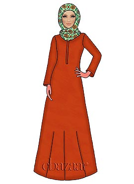 Orange N Light Green Georgette Abaya
