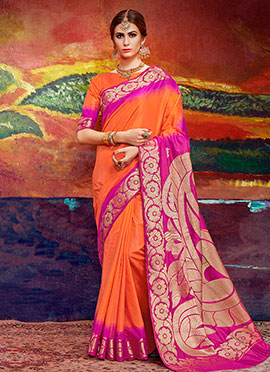 Orange N Magenta Art Silk Saree