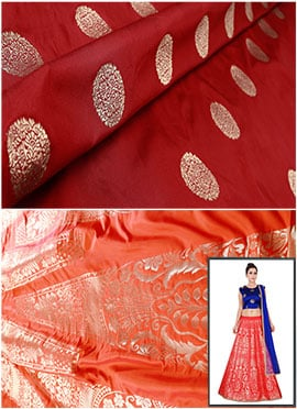 Orange N Maroon Art Silk A Line Lehenga Choli