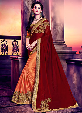Orange N Maroon Half N Half Saree