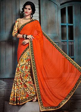 Orange N Multicolored Half N Half Saree