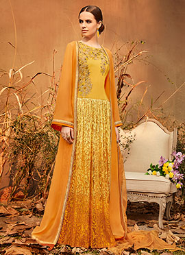 Orange N Mustard Abaya Style Anarkali Suit