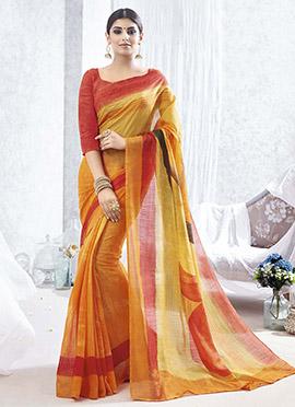 Orange N Mustard Bhagalpuri Silk Printed Saree