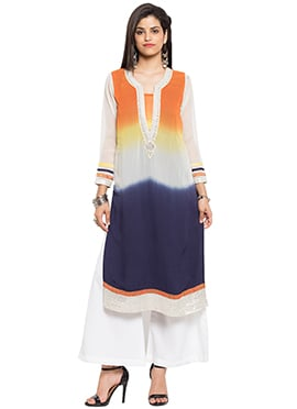 Orange N Navy Blue Georgette Kurti