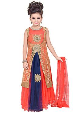 Peachish Pink N Navy Blue Jacket Style Anarkali Go