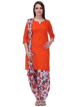 Orange N Off White Pure Cotton Patiala Suit