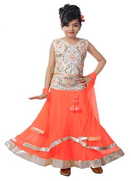Orange N Off White Kids Layered A Line Lehenga Choli