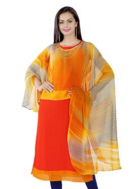 Orange N Off White Ombre Georgette Kurti