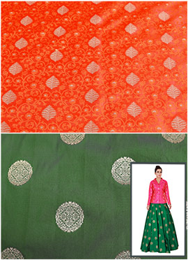 Orange N Olive Green Art Silk Jacket N Circular Sk