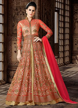 Orange N Peach Dual Tone Net Long Choli Lehenga