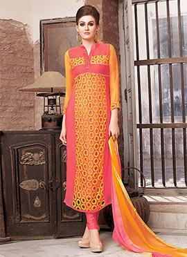 Orange N Pink Georgette Churidar Suit