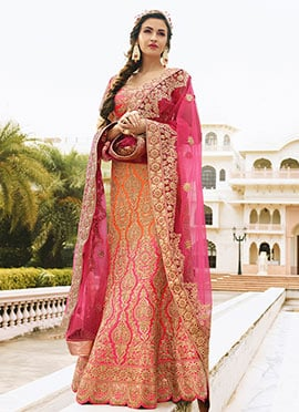 Orange N Pink Art Dupion Silk Umbrella Lehenga