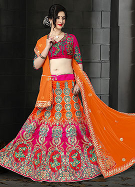 Orange N Pink Art Sik A Line Lehenga