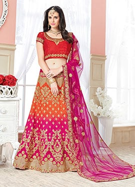 Orange N Pink Art Silk A Line lehenga Choli