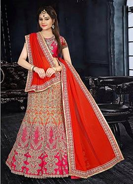Orange N Pink Art Silk A Line Lehenga Choli