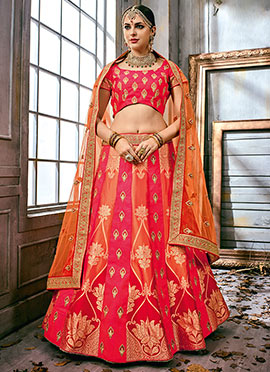 Orange N Pink Art Silk A Line Lehenga
