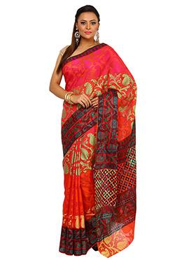 Orange N pink Art Silk Cotton Saree