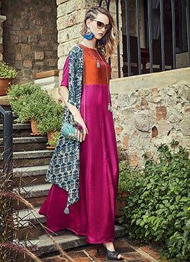 Orange N Pink Art Silk Dress
