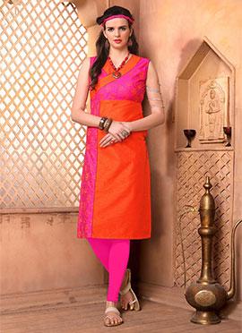 Orange N Pink Art Silk Knee Length Kurti