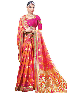 Orange N Pink Art Silk Saree