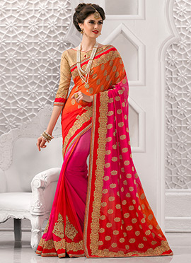Orange N Pink Art Silk Saree