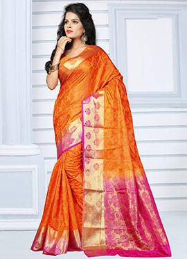 Orange N Pink Benarasi Silk Saree