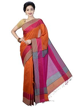 Orange N Pink Bengal Handloom Saree