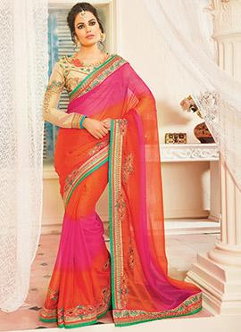 Orange N Pink Chiffon Saree