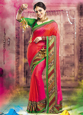 Orange N Pink Dual Shade Border Saree