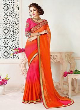 Orange N Pink Dual Tone Border Saree