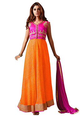 Orange N Pink Embroidered Anarkali Suit
