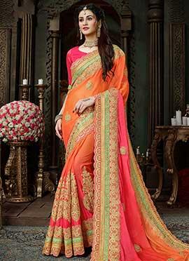 Orange N Pink Embroidered Saree
