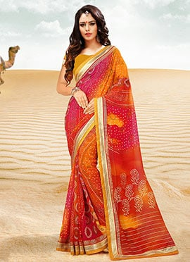 Orange N Pink Georgette Bandhini Saree