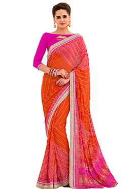Orange N Pink Georgette Bandhini Saree