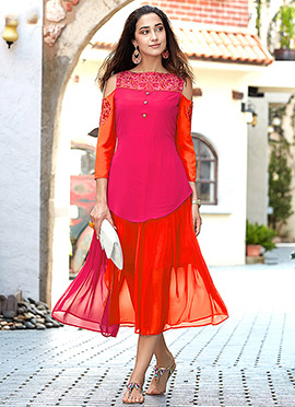 Orange N Pink Georgette Kurti