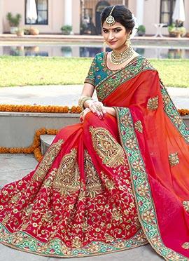 Orange N Pink Satin Saree