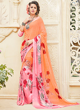 Orange N Pink Georgette Saree