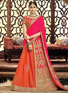 Orange N Pink Gota Patti A Line Lehenga