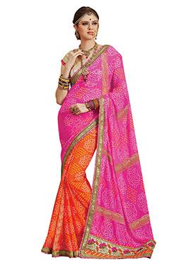 Orange N Pink Bandhini Half N Half Printed Saree